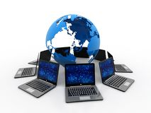 Computernetwerk, globaal Internet-concept, globale mededeling het 3d teruggeven Stock Foto's