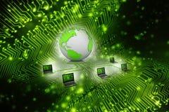 Computernetwerk, Internet-Mededeling op technologieachtergrond het 3d teruggeven Stock Illustratie