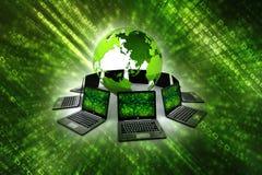 Computernetwerk, Internet-Mededeling, op witte achtergrond wordt geïsoleerd die het 3d teruggeven Royalty-vrije Stock Foto's