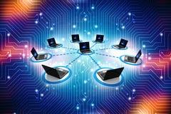 Computernetwerk op digitale achtergrond Netwerkverbinding, Internet-achtergrond 3d geef terug Stock Afbeeldingen