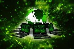 Computernetwerk op digitale achtergrond wordt geïsoleerd die Netwerkverbinding, Internet-achtergrond 3d geef terug Royalty-vrije Stock Afbeeldingen