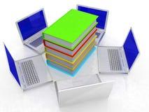 Computernetz mit Buch Lizenzfreie Stockfotografie