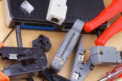 Computernetzwerk-Werkzeuge stockbild
