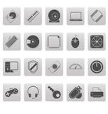 Computerpictogrammen op grijze vierkanten Stock Foto