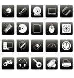 Computerpictogrammen op zwarte vierkanten Stock Afbeelding