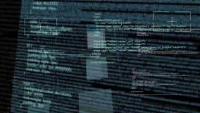Computerprogrammacode die op zuivere zwarte vliegen royalty-vrije illustratie