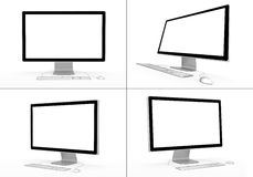 Computers. Set of computer workstations in various viewing angles. 3D rendered illustration Royalty Free Stock Photos