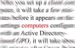 Computers. Blurry image of the word computers Royalty Free Stock Photo