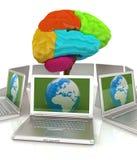 Computers aan centrale hersenen worden aangesloten die vector illustratie