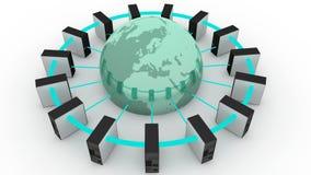 Computers aan de wereld worden aangesloten die royalty-vrije illustratie