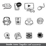 Computers and accessories doodles icon set. Stock Photo