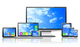 Computers And Cloudy Sky Concept. Stock Images