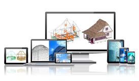 Computers And Construction Concept. Royalty Free Stock Images