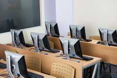 Computers Arranged On Desks Royalty Free Stock Image