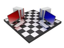 Computers on chessboard. 3d illustrations of two computers on chessboard Royalty Free Stock Photography