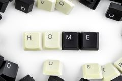 Computers and computer technologies in industries and fields of human activity - concept. home. The word is laid out on a white. Background from the scattered stock photography