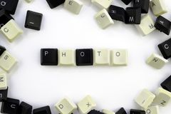 Computers and computer technologies in industries and fields of human activity - concept. a photo. The word is laid out on a white. Background from the royalty free stock images
