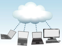Computers connect to cloud computing technology Royalty Free Stock Images