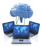 Computers connected to central brain Stock Photos