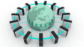 Computers connected to the world. Different computers in network connected to the world royalty free illustration