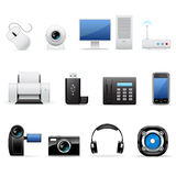 Computers and electronics icons. Vector computers and electronics icons isolated on white stock illustration
