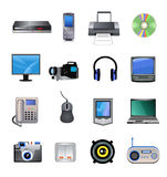Computers and electronics icons. Vector computers and electronics devices isolated on a white background Royalty Free Stock Image