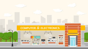 Computers and electronics store building and interior Stock Photo