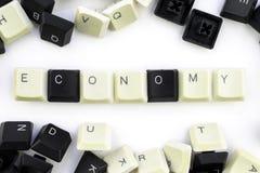 Computers en computertechnologie op de industrie?n en gebied van menselijke activiteit - concept De Economie Op een witte achterg royalty-vrije stock afbeelding