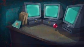 Computers en een Rode Knoop op een Lijst royalty-vrije illustratie