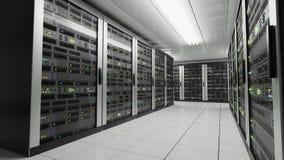 Computers en servers in datacenter Gegevensopslag en van de wolkendiensten concept 3D teruggegeven illustratie stock illustratie