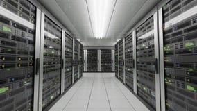 Computers en servers in datacenter Gegevensopslag en van de wolkendiensten concept 3D teruggegeven illustratie royalty-vrije illustratie