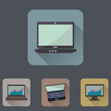 Computers flat icons set with long shadow Royalty Free Stock Photos