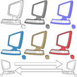 Computers icons set. Vector of computers icon with color and banner Royalty Free Stock Images