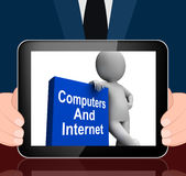 Computers And Internet Book With Character Displays Web Research Royalty Free Stock Photo