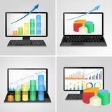 Computers and laptops with financial charts and graphs - business, finance, accounting statistic concept. Vector illustration Stock Images