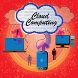 Computers,mobile,laptop connecting-cloud computing Stock Photography