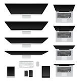 Computers and notebooks set Royalty Free Stock Photos