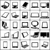 Computers Notebooks and Tablets Set Royalty Free Stock Images