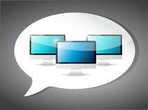 Computers op een toespraakbel. illustratie stock illustratie