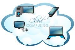 Computers op wolk vector illustratie