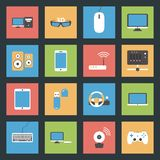 Computers, peripherals and network devices flat ic stock illustration