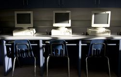Computers in a row. Set in a classroom that is for learning Stock Photos