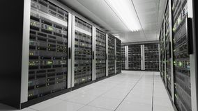 Computers and servers in datacenter. Data storage and cloud services concept. 3D rendered illustration.  Stock Image