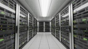 Computers and servers in datacenter. Data storage and cloud services concept. 3D rendered illustration.  Royalty Free Stock Photos