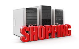Computers and Shopping (clipping path included) Royalty Free Stock Image