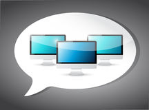 Computers on a speech bubble. illustration Royalty Free Stock Photography