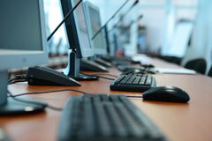 Computers, tables, the keyboard at office Stock Photo