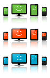 Computers, tablets and phones. With a smile Stock Photography