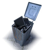 Computers in a trash bin on a white background Royalty Free Stock Photos
