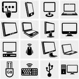 Computers vectordiepictogrammen op grijs worden geplaatst. Royalty-vrije Stock Afbeelding